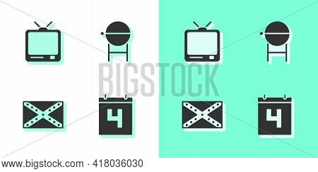 Set Calendar With Date July 4, Retro Tv, Flag Confederate And Barbecue Grill Icon. Vector
