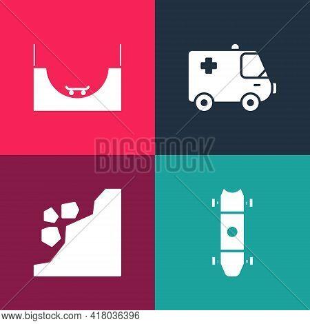 Set Pop Art Longboard Or Skateboard, Landslide, Ambulance Emergency Car And Skate Park Icon. Vector