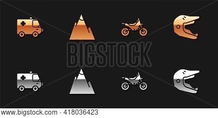 Set Ambulance And Emergency Car, Mountains, Bike And Motocross Motorcycle Helmet Icon. Vector