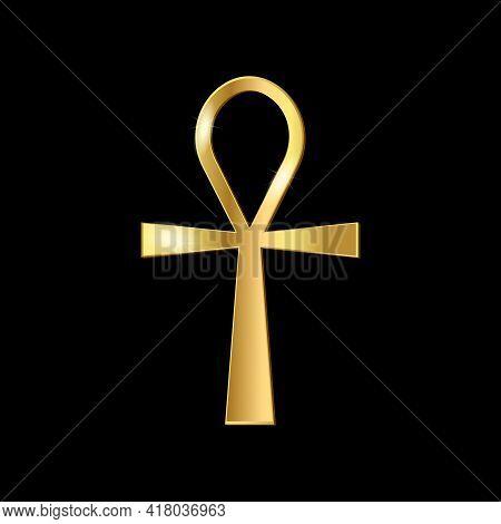 Golden Ankh Symbol Isolated On Black Background