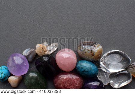 Tumbled Gems Of Various Colors. Amethyst, Rose Quartz, Agate, Apatite, Aventurine, Olivine, Turquois