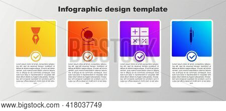Set Fountain Pen Nib, Earth Globe, Calculator And Pen. Business Infographic Template. Vector