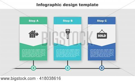 Set Sale House, House Key And Hanging Sign With Text Sold. Business Infographic Template. Vector