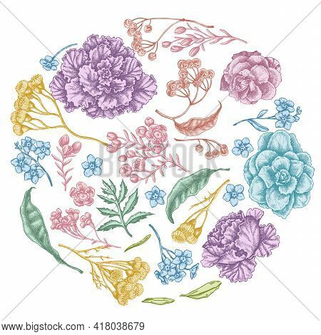 Round Floral Design With Pastel Wax Flower, Forget Me Not Flower, Tansy, Ardisia, Brassica, Decorati
