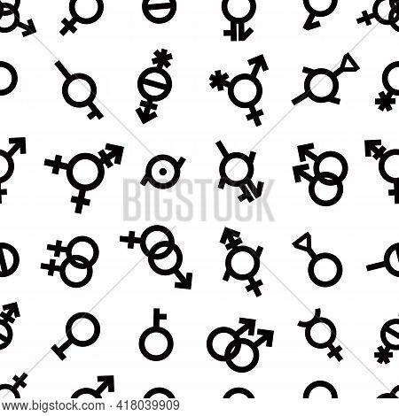 Pride Lgbt Gender Seamless Pattern Bigender, Agender, Neutrois, Asexual, Lesbian, Homosexual, Bisexu