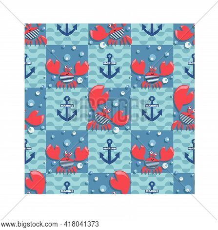 Sea Red Crabs, Waves. Bright Crabs On Marine Checkered Background Create A Cheerful Cartoon Drawing,