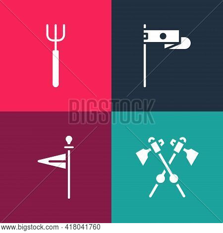 Set Pop Art Crossed Medieval Axes, Medieval Flag, And Garden Pitchfork Icon. Vector