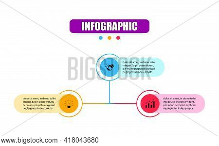 Presentation Business Infographic Template With 3 Options. Vector Circle Design Template Infographic
