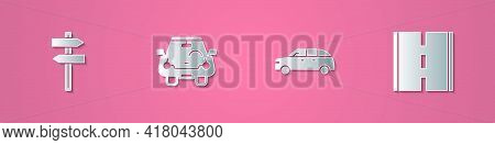 Set Paper Cut Road Traffic Signpost, Car, Hatchback Car And Icon. Paper Art Style. Vector