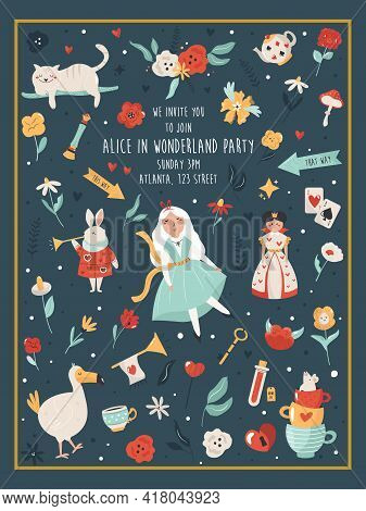 Party Invitation With Characters And Symbols Of Alice In Wonderland