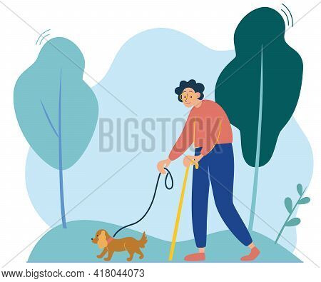 An Elderly Lady Is Walking With A Small Dog. Walk In Nature. Happy Owner With Pet. ..grandmother Wal