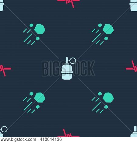 Set Barbed Wire, Hand Grenade And Flying Stone On Seamless Pattern. Vector