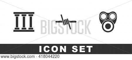Set Prison Window, Barbed Wire And Gas Mask Icon. Vector