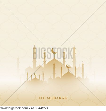 Eid Mubarak Background With Mosque Vector Template Design