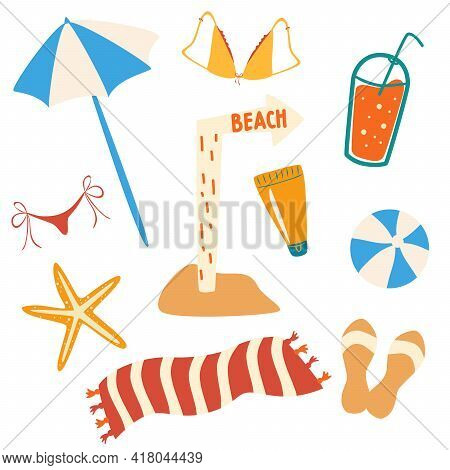 Set Of Summer Items And Beach Objects. Beach Accessories: Umbrella, Flip Flops, Towel, Swimsuit, Coc