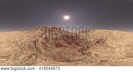 Daylight Sun On A Mars, Red Planet, Landscape In A 360 Hdri Spherical Panorama For 3d Illustration E