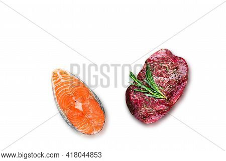 Fish Or Meat.the Keto Diet.red Fish On A White Background.beef,veal,steak, Medallion Isolated.salmon