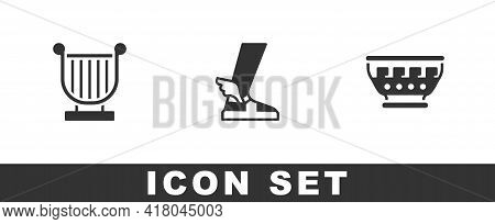 Set Ancient Lyre, Hermes Sandal And Greek Ancient Bowl Icon. Vector