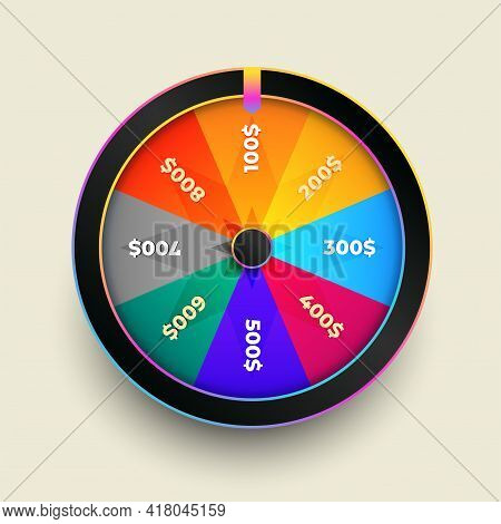 Colorful Wheel Of Fortune Luck Vector Template Design