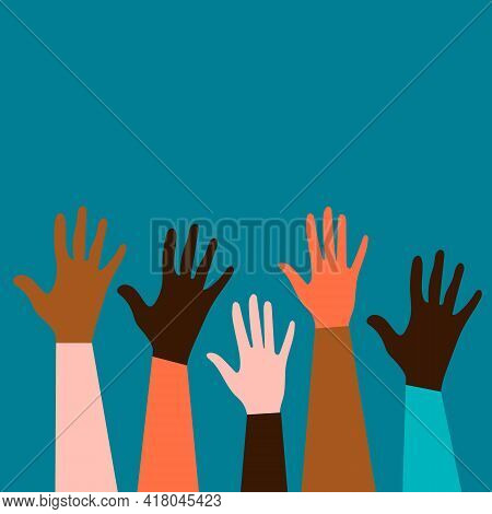 Hands Of People Of Different Nationalities And Religions. Feminism Concept Design For Cards, Posters