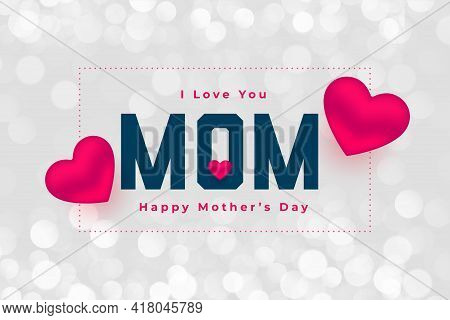 Happy Mothers Day Hearts Background Vector Template Design