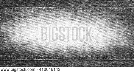 Jeans Texture Background. Denim Grunge Textured Canvas. Style Black And White Textile Border Frame W