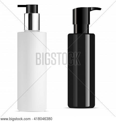 Pump Bottle Mockup. Cosmetic Dispenser Container, 3d Vector Illustration. Liquid Serum Bottle, Skinc