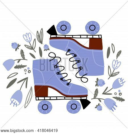 Cute Doodle Roller Skates Hand Drawn Isolated On White Background. Vector Summer Flowers And Leaves.