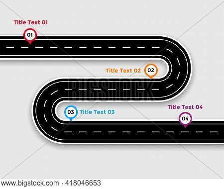 Pathway Infographic Template With Winding Road Vector Template Design