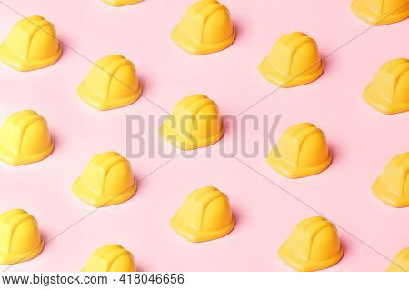 Yellow Safety Hat Over Pink Background, Safety Hat Pattern