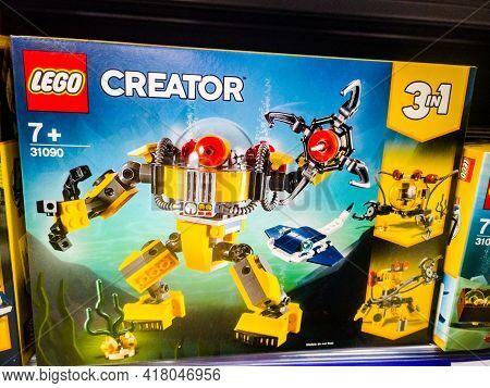 Constructor Lego Creator 31111 Cyberdron On Sale In The Hypermarket 11.04. 2021 In Russia, Kazan, St
