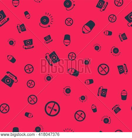 Set No Fire Match, Ringing Alarm Bell, Telephone Call 911 And Fire Bucket On Seamless Pattern. Vecto