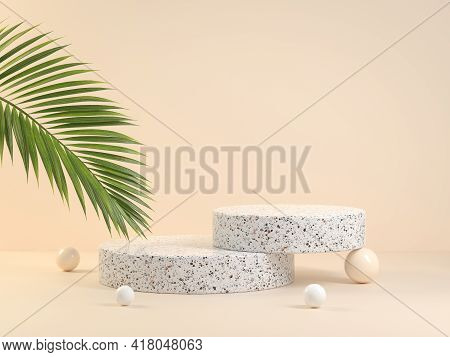 Minimal Geometry Basic Step Product Stand With Green Palm Leaf On Beige Background 3d Render