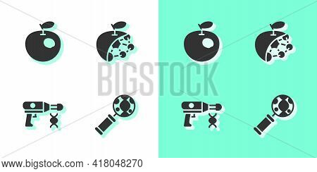 Set Dna Research, Search, Genetically Modified Apple, Transfer Liquid Gun And Biological Structure I