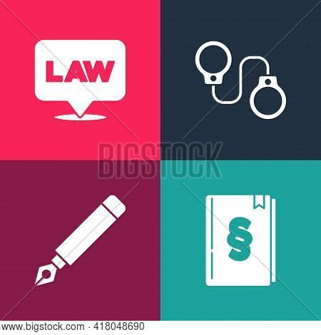 Set Pop Art Law Book, Fountain Pen Nib, Handcuffs And Location Law Icon. Vector