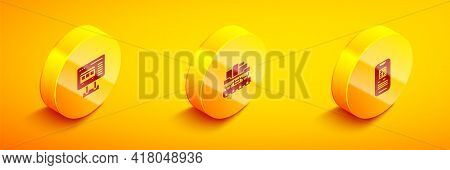 Set Isometric Ticket Office To Buy Tickets, Cargo Train Wagon And E-ticket Icon. Vector
