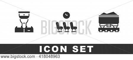 Set Train Conductor, Waiting Room And Coal Train Wagon Icon. Vector