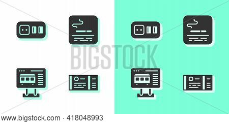 Set Train Ticket, Electrical Outlet, Ticket Office To Buy Tickets And Smoking Area Icon. Vector