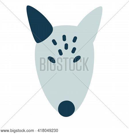 Bull Terrier Face. Logo Design Cartoon Vector Illustration.
