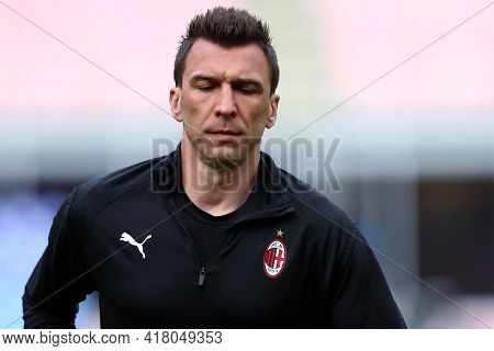 Milano, Italy. 18th April 2021. Mario Mandzukic Of Ac Milan  During The Serie A Match Between Ac Mil