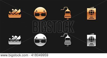 Set Sinking Cruise Ship, Glasses, Ship Bell And Passport Icon. Vector
