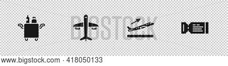 Set Trolley For Food, Plane, Takeoff And Airline Ticket Icon. Vector
