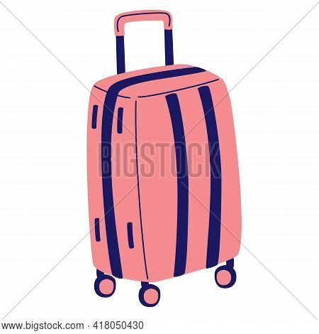 Plastic Pink Suitcase. Travel Luggage Icon Baggage, Luggage In Airport. Summer Travel Sign Symbol. T