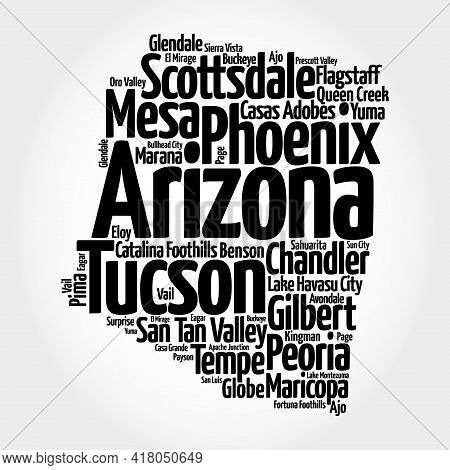 List Of Cities In Arizona Usa State, Map Silhouette Word Cloud Map Concept