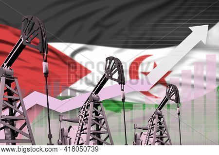 Western Sahara Oil Industry Concept, Industrial Illustration - Rising Up Chart On Western Sahara Fla