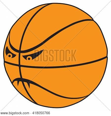 A Fierce Cartoon Basket Ball With Fangs Is Ready To Play