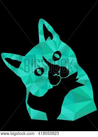 Mosaic Of Cartoon Serious And Interested Cat Muzzle In Turquoise Hues Isolated On The Black Backgrou