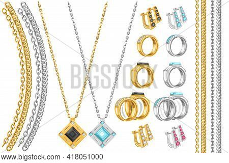 Vector Jewelry Set, Lot Collection Of Cut Out Illustrations Chains, Necklaces With Black And Blue Pr