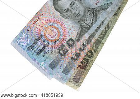 Thai Baht Banknotes On White Background, Isolated.