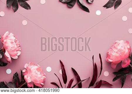 Pink Peony Monochrome Greeting Card. Fresh Fragrant Peony Flowers, Leaves And Paper Circles, Confett